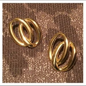 Vintage Intertwined Oval Gold Studded Earrings